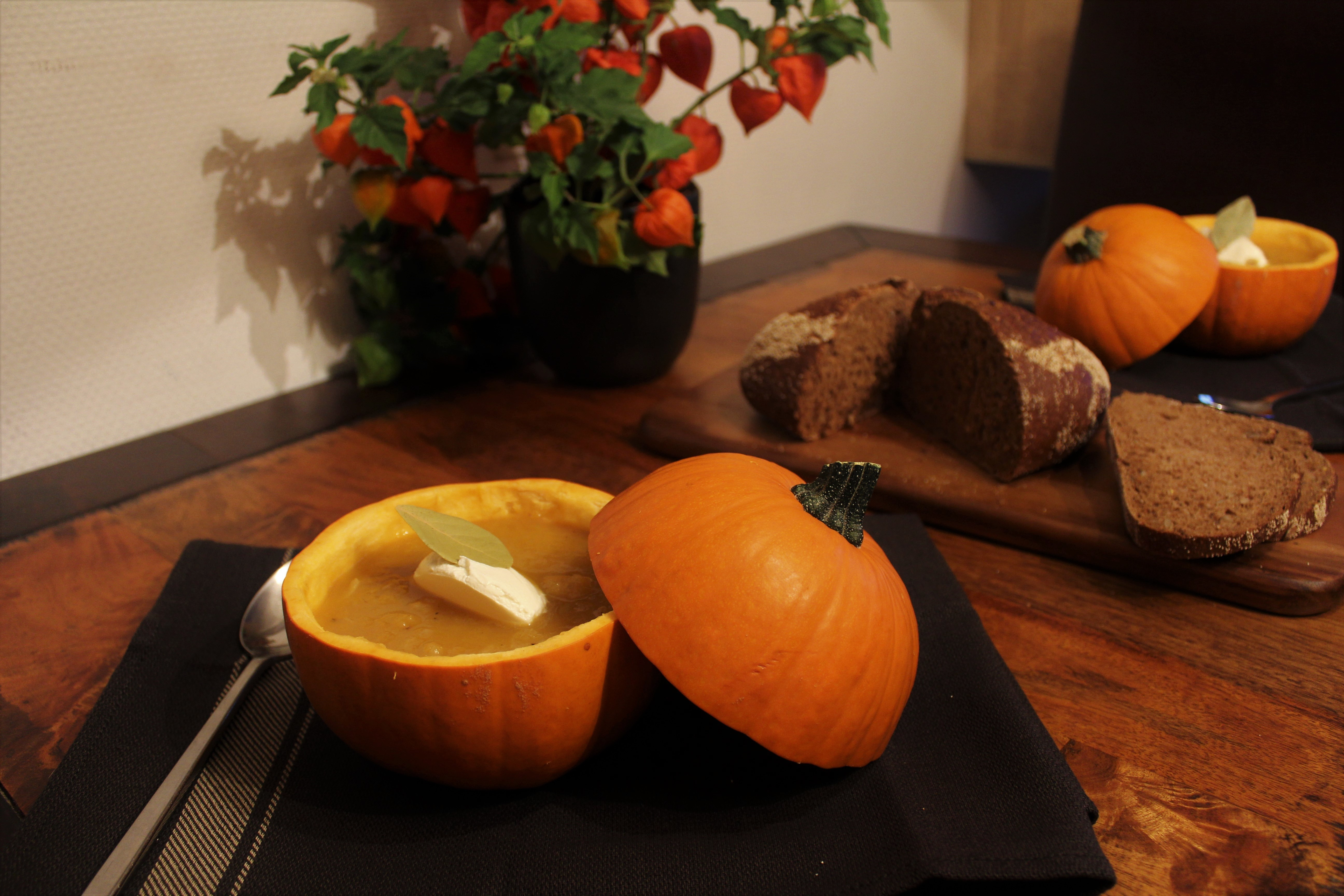 Simple Pumpkin Soup in a Pumpkin
